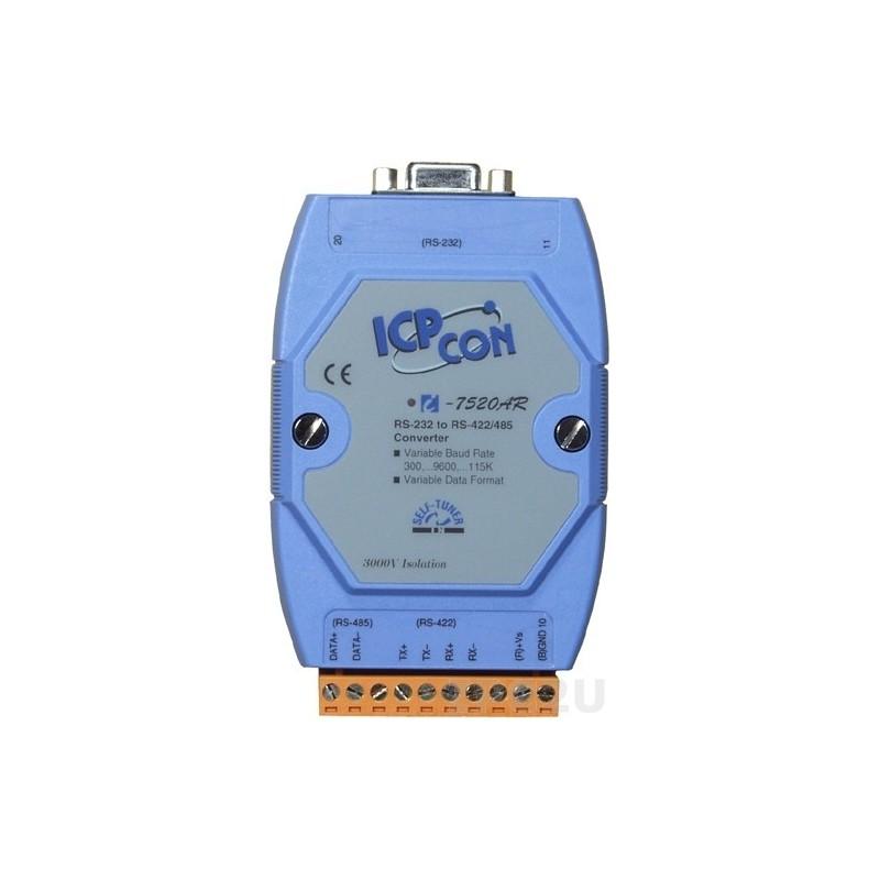 Optoisoleret RS232 til RS485 konverter. Dobbeltisoleret DC/DC. ICP-DAS I-7520AR CR
