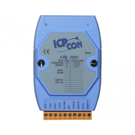 1 x analog udgang, +/-10 volt, 0-20mA, 12bit, RS485 bus