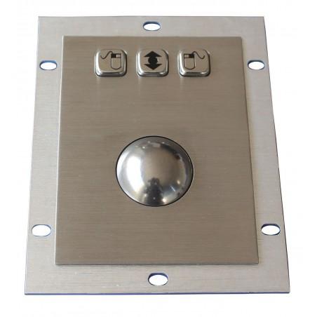 IP65 laser trackball 1200 dpi i stål til indbygning. USB / PS/2