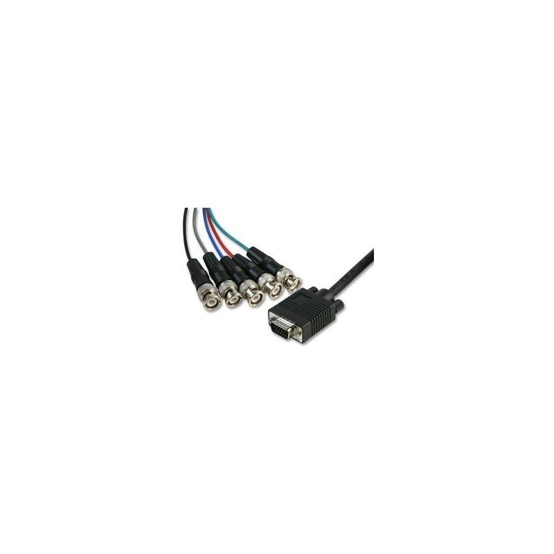 VGA til BNC kabel, DB15HD han-5 stk BNC stik, 2 meter
