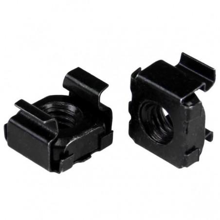 100 stk. Click-in møtrikker, sorte, til industrikabinetter og rackskabe. 6mm gevind