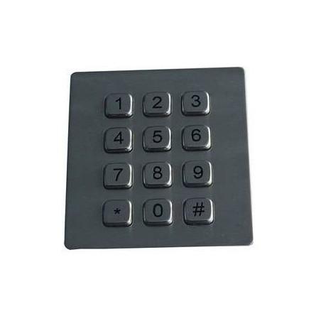 12 key Industri keypad i rustfri stål, IP65 tæt og vandalsikret - panel montering, USB