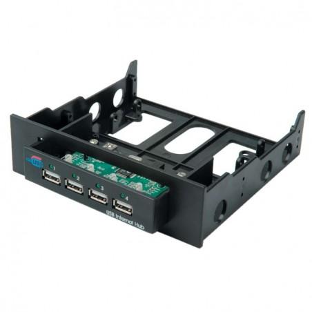 """4 port USB2.0 HUB i 3,5"""" & 5,25"""" ramme til montering i PC"""