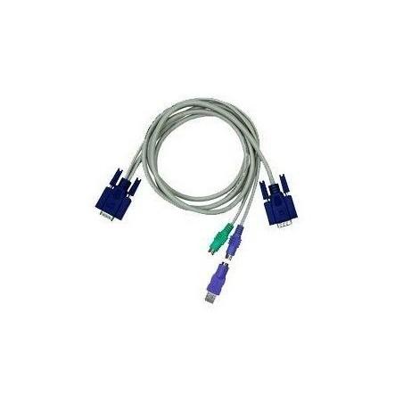 Restlager: Blæksprutte/ KVM kabel med DB15HDM -2xDIN6MM + 1xDB15HDM og USB adapter, KC-1505C, 5 meter