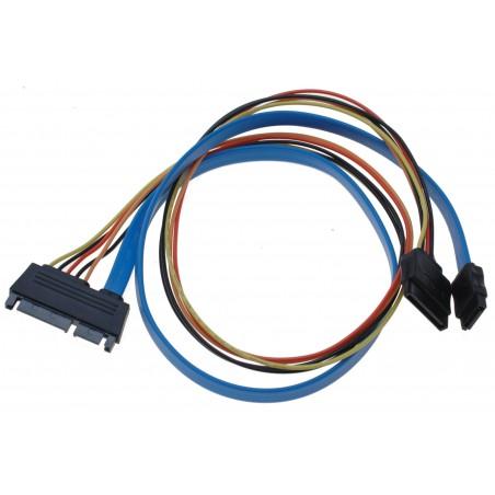 HDD kabel, SATA 22 Pin han til 7 Pin og 15 Pin SATA Power hun - 60 cm