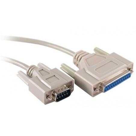 SUB-D RS232 seriel kabel DB9 han til DB25 hun, 0,75 meter