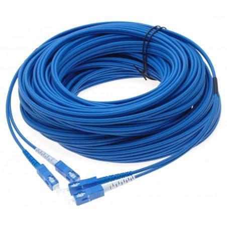 Fiber optisk kabel med fleksibel armering af rustfrit stål - singlemode SC, 250 meter