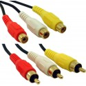Lyd og videokabel, 3 x RCA han - 3 x RCA hun, rød-gul-hvid