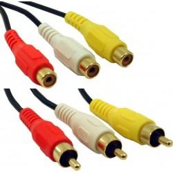 Lyd og videokabel, 3 x RCA han - 3 x RCA hun, rød-gul-hvid 1,8 meter