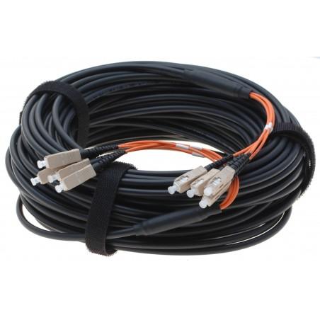 Armeret fiberkabel Multi Mode, 50/125 μm, 4 x SC stik i hver ende. OM3, sort, 70 meter