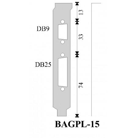Restsalg: Bagplade med hul til DB9 og DB25