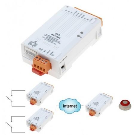 2 x digital input, 2 x relæ output over netværk, 32bit tæller, I/O Pair-forbindelse, Modbus