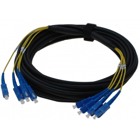 Armeret fiberkabel Single Mode, 9/125μm - 4 core, 4 x LC i hver ender, sort, 20 m