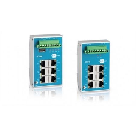 6 ports 10/100Mbit RJ45 switch, DIN, -40°C til +70°C, fladt design, fejl I/O, 9 - 60VDC, 18 - 30VAC, unmanaged