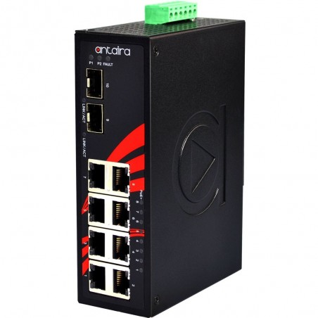 8 ports Industriel 10/100/1000Mbit switch + 2 x 10GB SFP slot, unmanaged, DIN-beslag, -40 - +60°C, 24 - 55VDC, PoE+