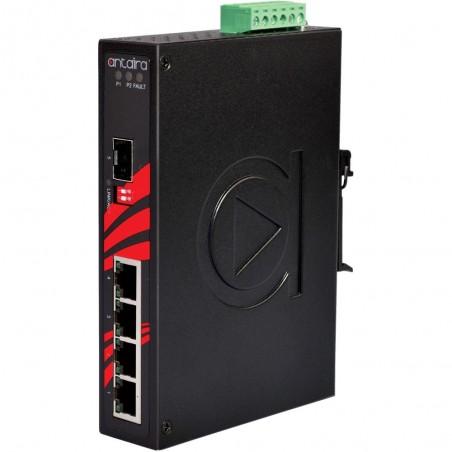 4 ports Industriel 10/100/1000Mbit + 1 x 100/1000Mbit SFP slot switch, DIN-beslag, -40 - +75°C, 12 - 48VDC