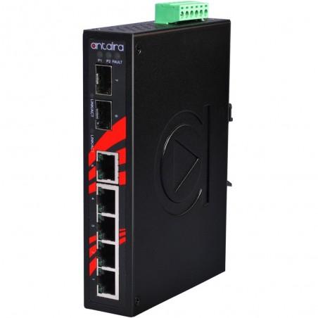 5 ports Industriel 10/100Mbit + 2 x 100/1000Mbit SFP slot switch, DIN-beslag, 0 - +70°C, 12 - 48VDC