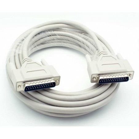 SUB-D DB25 han-han kabel, skærmet, IEEE1284, grå, 0,75m