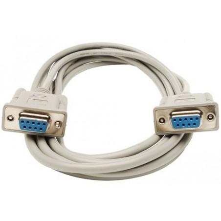 SUB-D RS232 seriel kabel, DB9 hun - DB9 hun, AWG28, grå, 10m