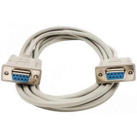 SUB-D RS232 seriel kabel, DB9 hun - DB9 hun, AWG28, grå, 5,0m