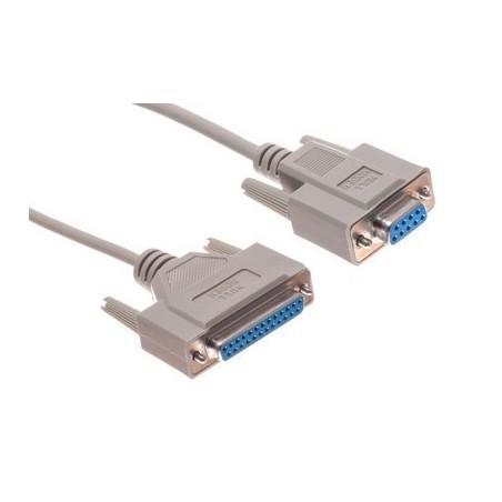 SUB-D RS232 seriel kabel, DB9 hun - DB25 hun, grå, 0,75m
