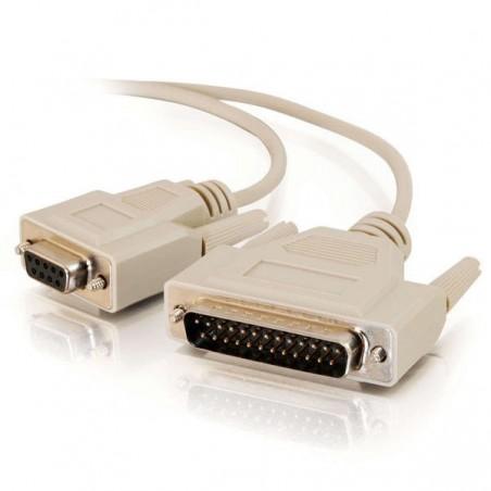 SUB-D RS232 seriel kabel, DB9 hun - DB25 han, AWG28, grå, 5,0m