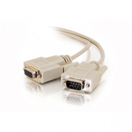 SUB-D RS232 seriel kabel, DB9 han - DB9 hun, AWG28, grå, 15m