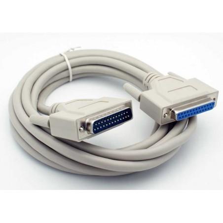 SUB-D DB25 han-hun kabel, alle pin er forbundet, grå, 5,0m