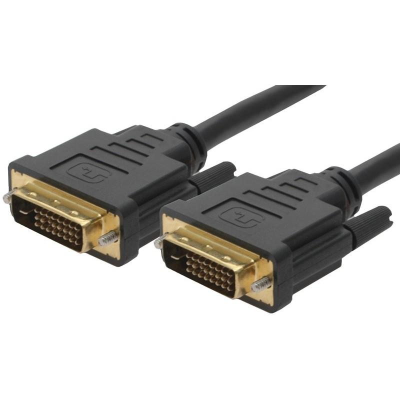 DVI kabel, DVI-I han til DVI-I han, Dual Link, overfører både 2 digitale signaler og 1 analogt signal: (2/1), sort, 2,0m